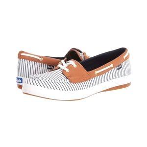 NIB Keds Navy Striped Boat Shoes Memory Foam